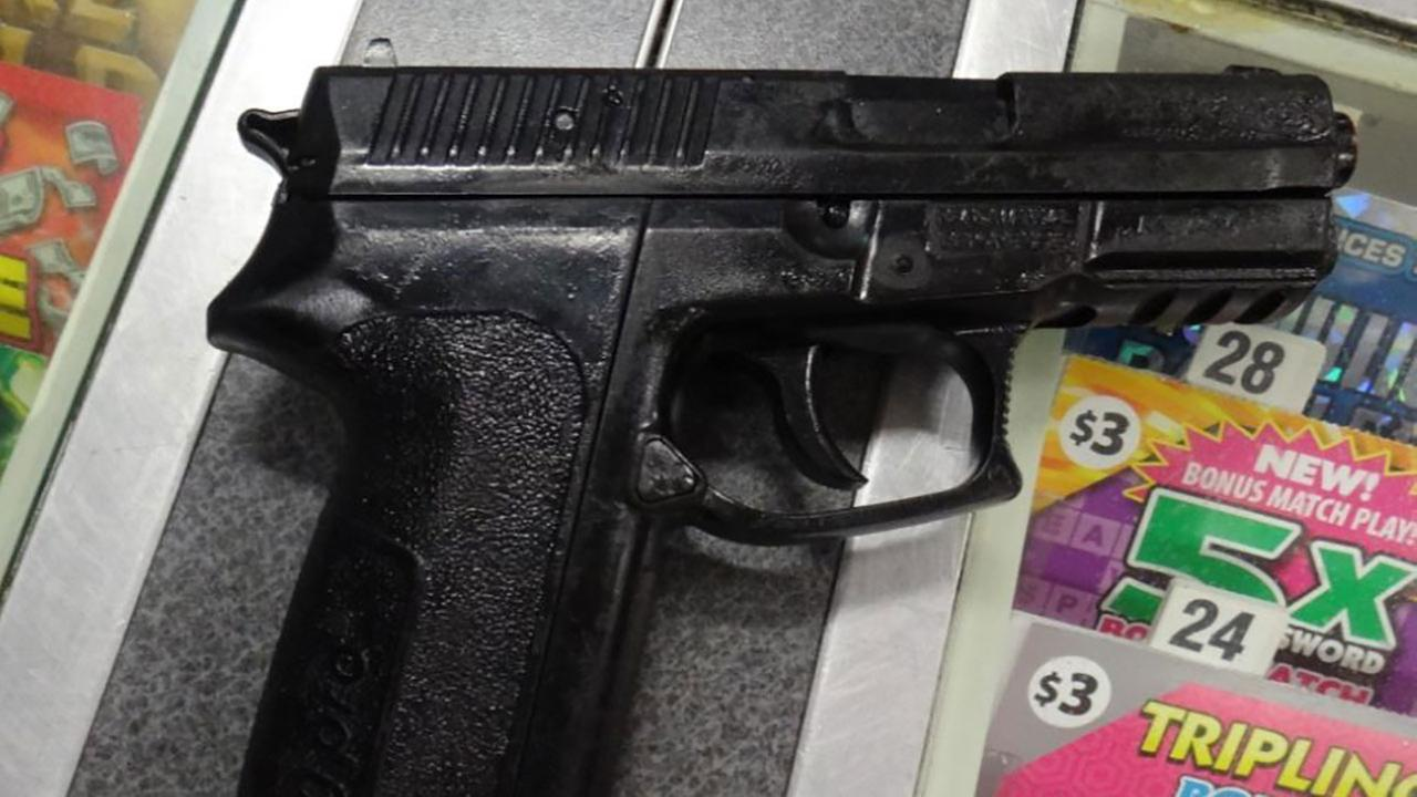 A replica semi-automatic handgun recovered during an attempted robbery at a 7-Eleven store in Gardena on Saturday, Dec. 30, 2017.