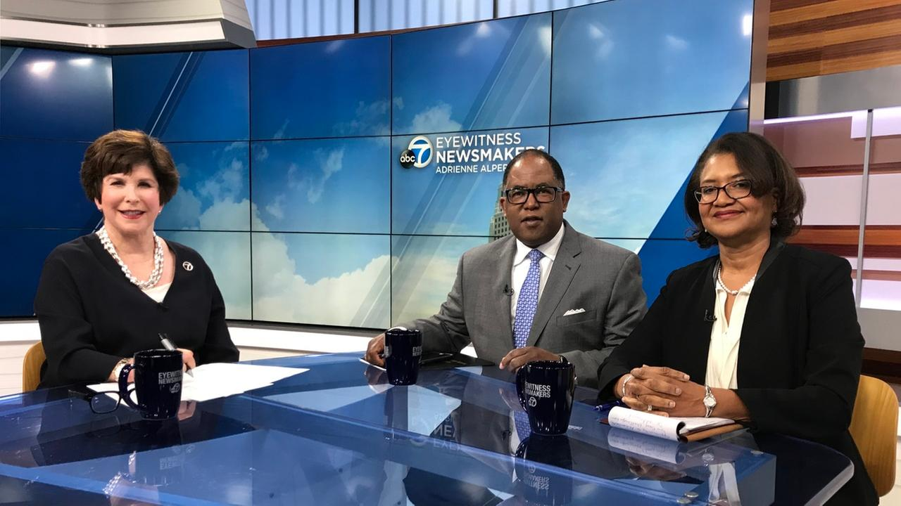 L.A. County Supervisor Mark Ridley-Thomas and Dr. Elaine Batchlor, CEO of Martin Luther King Jr. Community Hospital pose with Eyewitness Newsmakers host Adrienne Alpert.