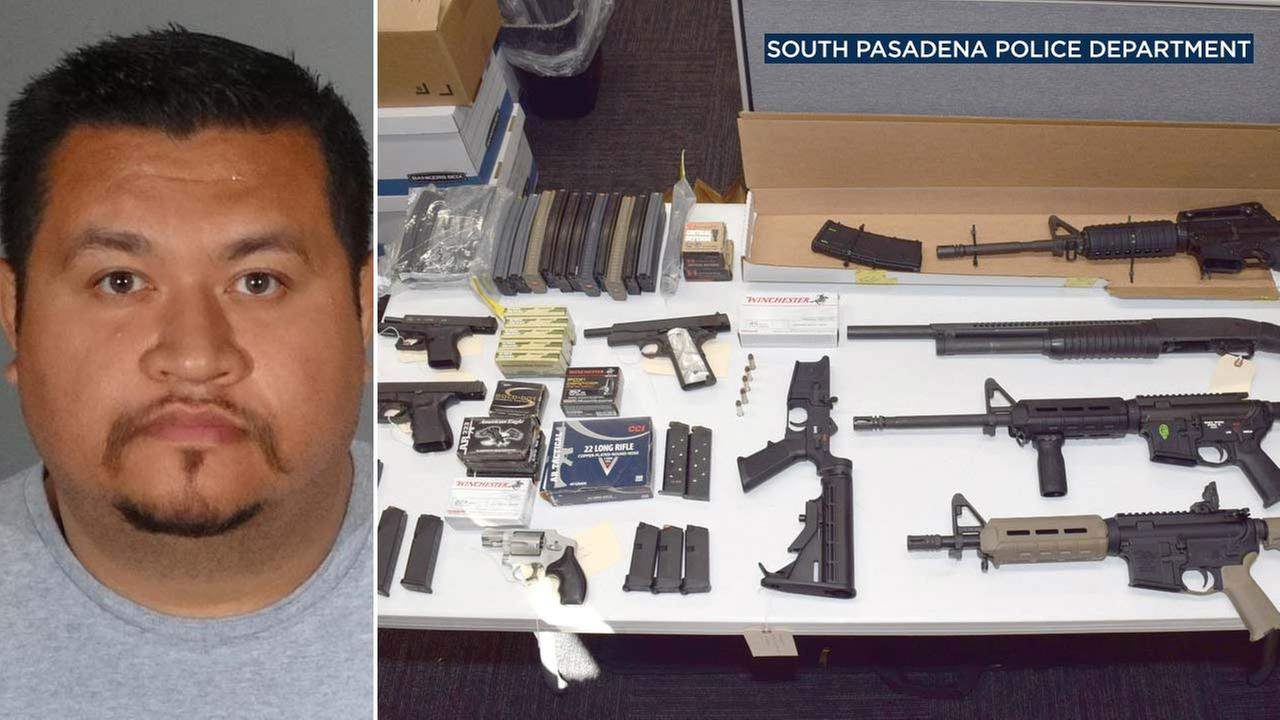 (Left) Paul Anthony Cruz is seen in a photo. (Right) Weapons taken from Cruzs home are seen in a photo provided by South Pasadena police.