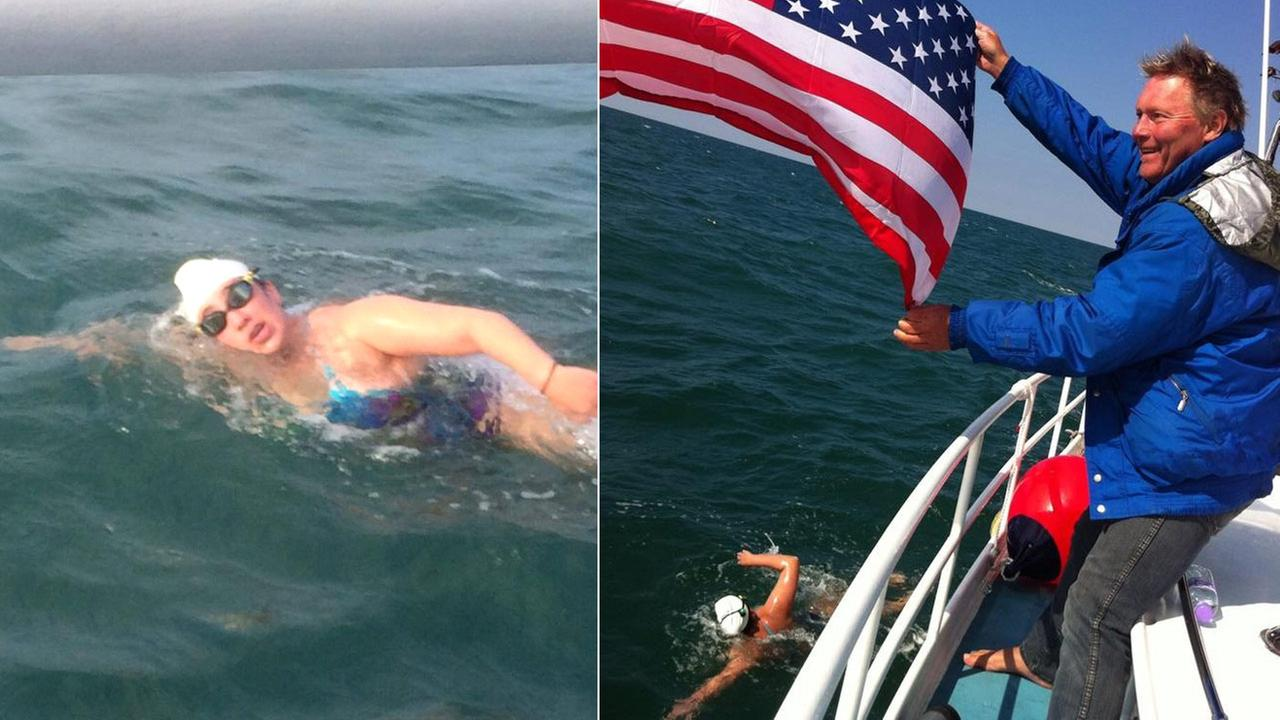 Charlotte Samuels swims across the English Channel on Monday, Sept. 8, 2014.
