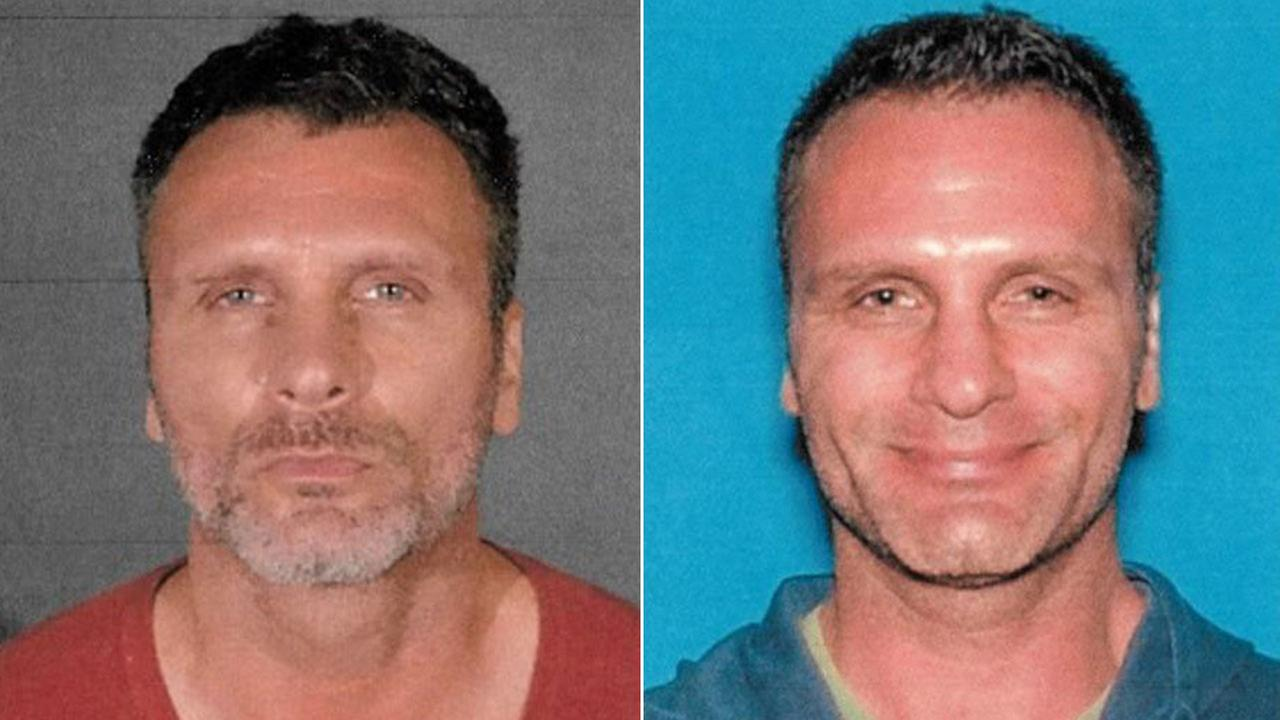 Greg Alyn Carlson, 46, is shown in a 2017 mugshot alongside a 2014 DMV picture from 2014.