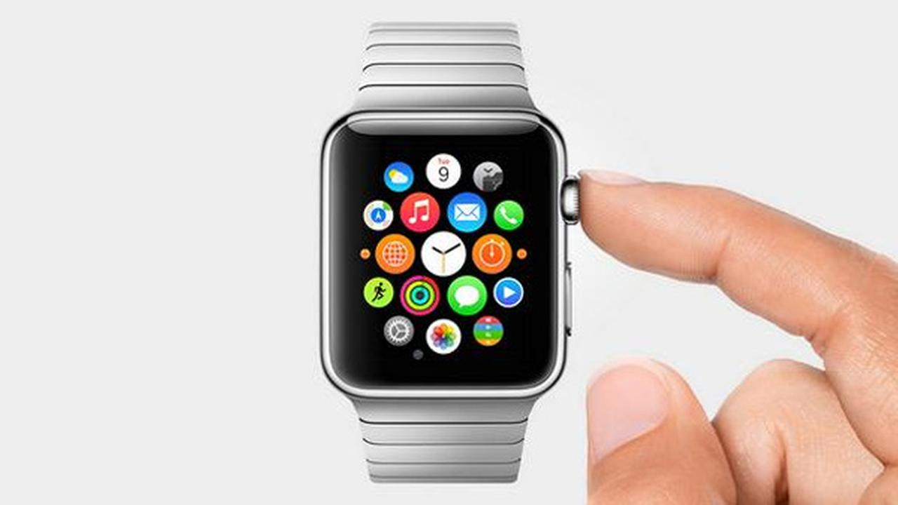 The Apple Watch is seen at its unveiling presentation on Tuesday, Sept. 9, 2014.