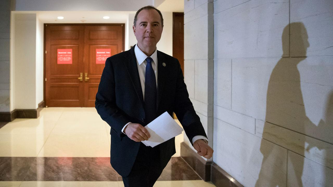 Rep. Adam Schiff leaves a secure area where the panel meets as Democrats seek to push back against a classified memo released by Republicans.