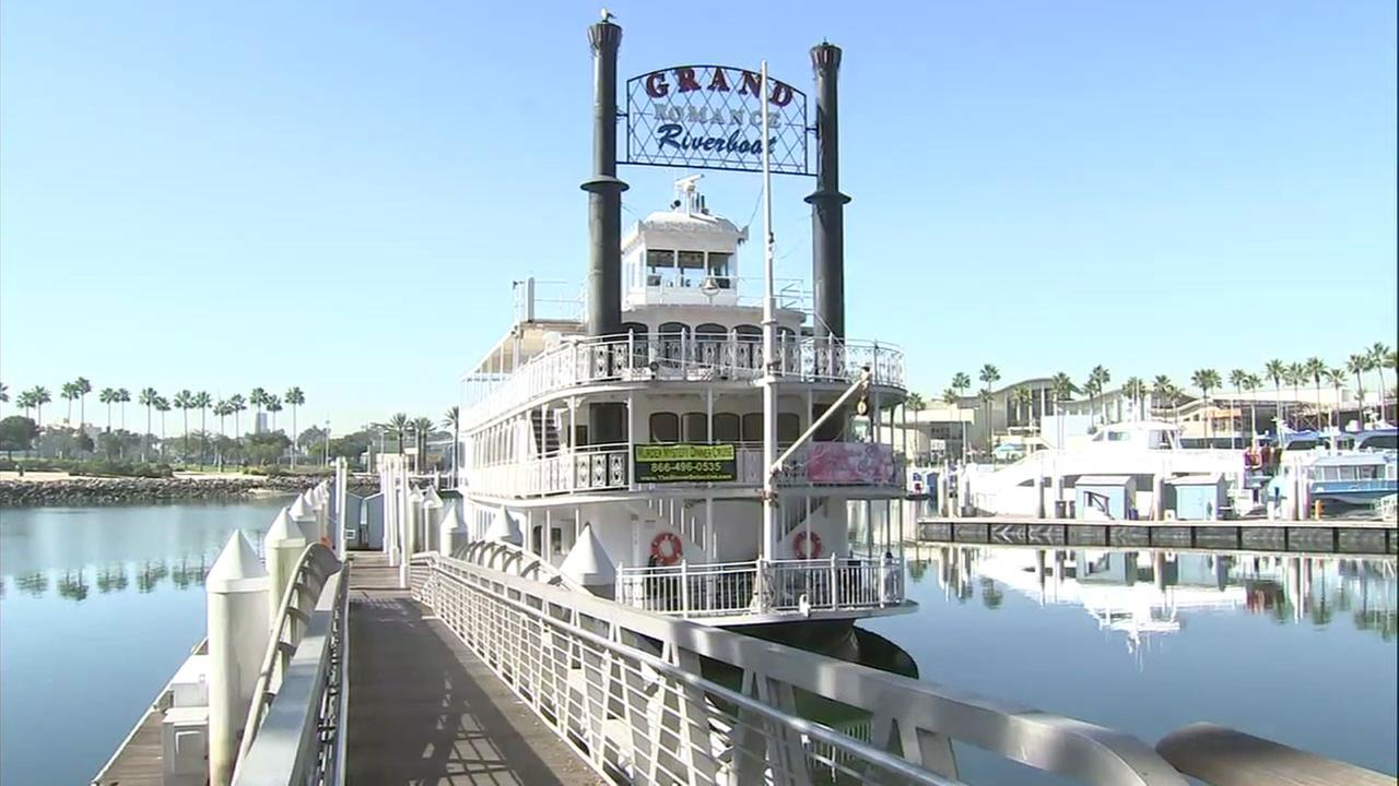The Grand Romance Riverboat is shown in the Long Beach harbor.