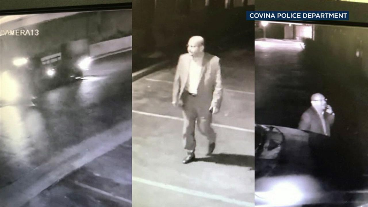 Surveillance photos show a man who is accused of sexually assaulting a minor at a Covina hotel on Wednesday, Feb. 7, 2018.