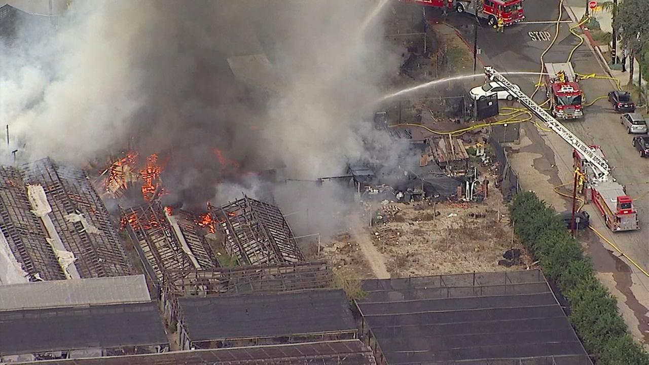 Crews douse fire at abandoned nursery in San Gabriel on Wednesday, Feb. 14, 2018.