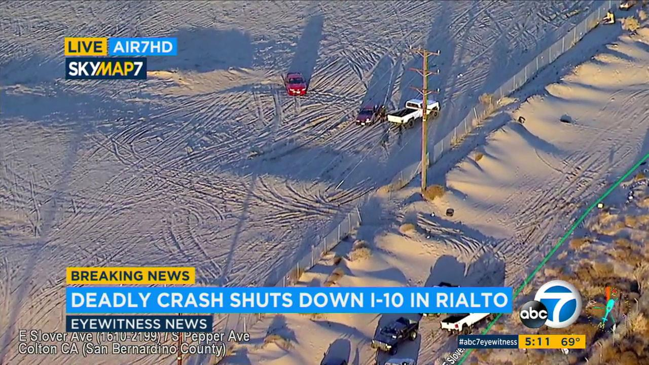 Some vehicles got stuck in the sand when they tried to go off-road to avoid a 10 Freeway backup in Rialto.