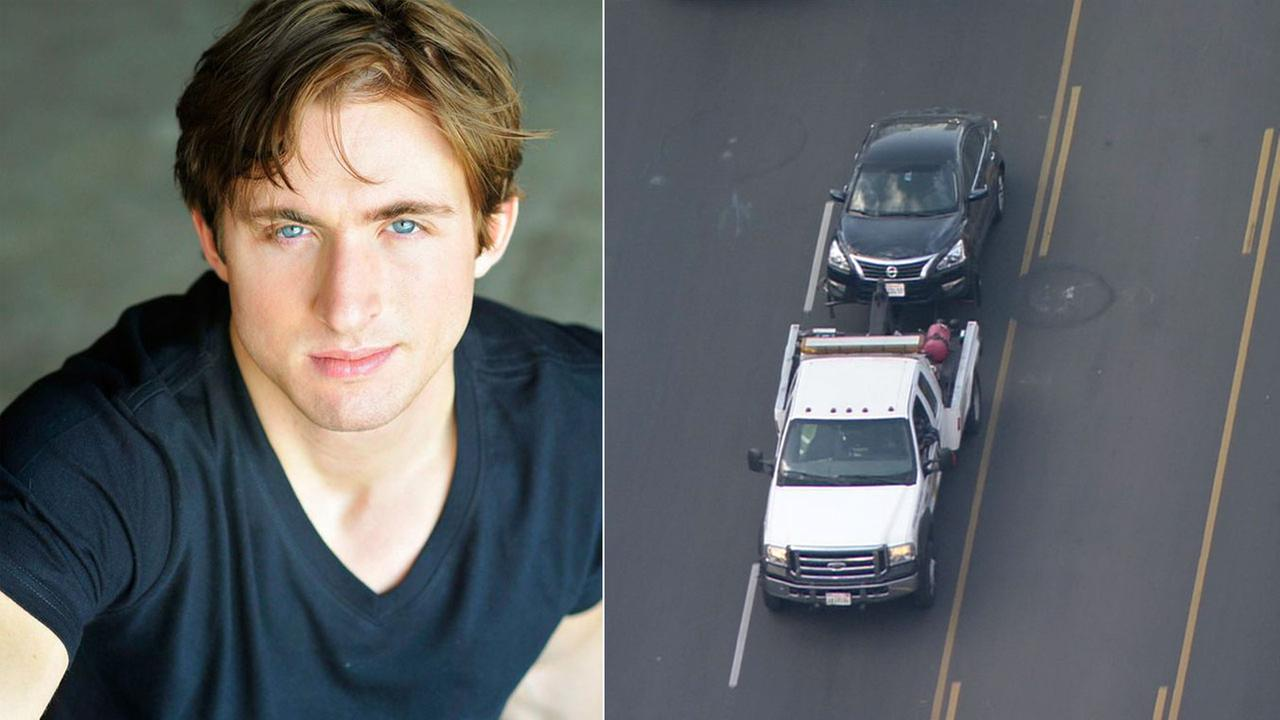 Joshua Thiede, 29, a man who has been missing since Feb. 11, is shown in an undated photo alongside a tow truck taking his car that was found in an L.A. neighborhood.