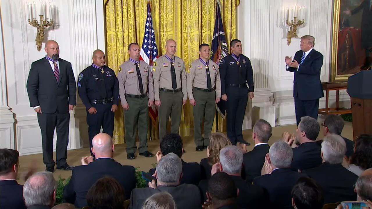 Six Southern California law enforcement officials were presented with the Medal of Valor for their actions following the San Bernardino terror attack.