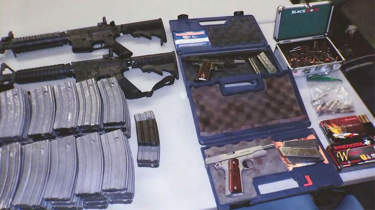 A photo shows guns and ammunition found in the home of a student who made shooting threats at El Camino High School in Whittier.