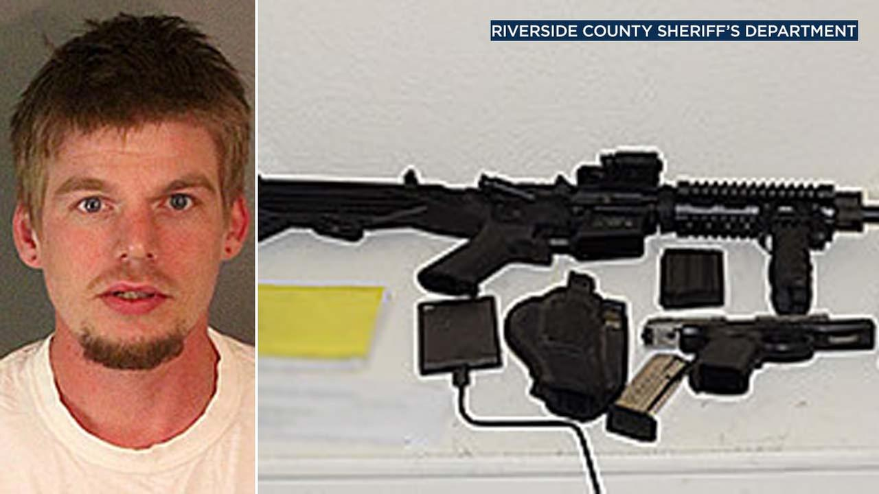 (Left) Jacob Ryan McBain, 27, appears in a photo released by the Riverside County Sheriffs Department. (Right) Investigators found a loaded AR-15 and other items in his home.