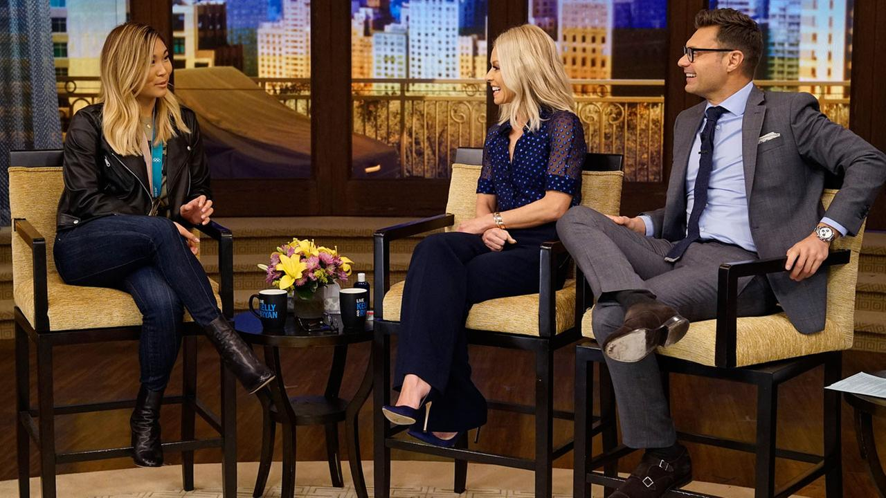 Olympic gold medalist Chloe Kim is shown during her interview on Live with Kelly and Ryan in New York City on Thursday, Feb. 22, 2018.