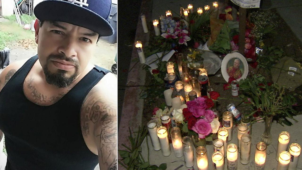 Jesus Nunez, 38, is shown in an undated Facebook photo alongside an image of candles set up as a memorial for him in Lakewood, where he was killed.