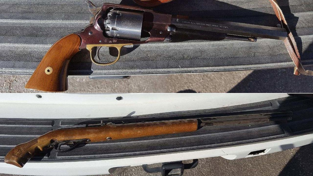 Two guns that were seized from a Yucca Valley High School students home are shown.