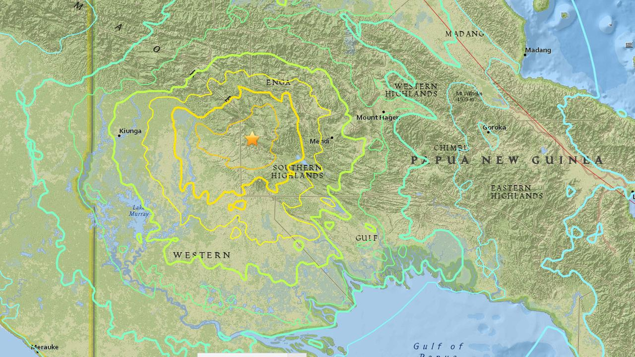 A U.S. Geological Survey map shows the epicenter of a 7.5-magnitude earthquake that struck Papua New Guinea.