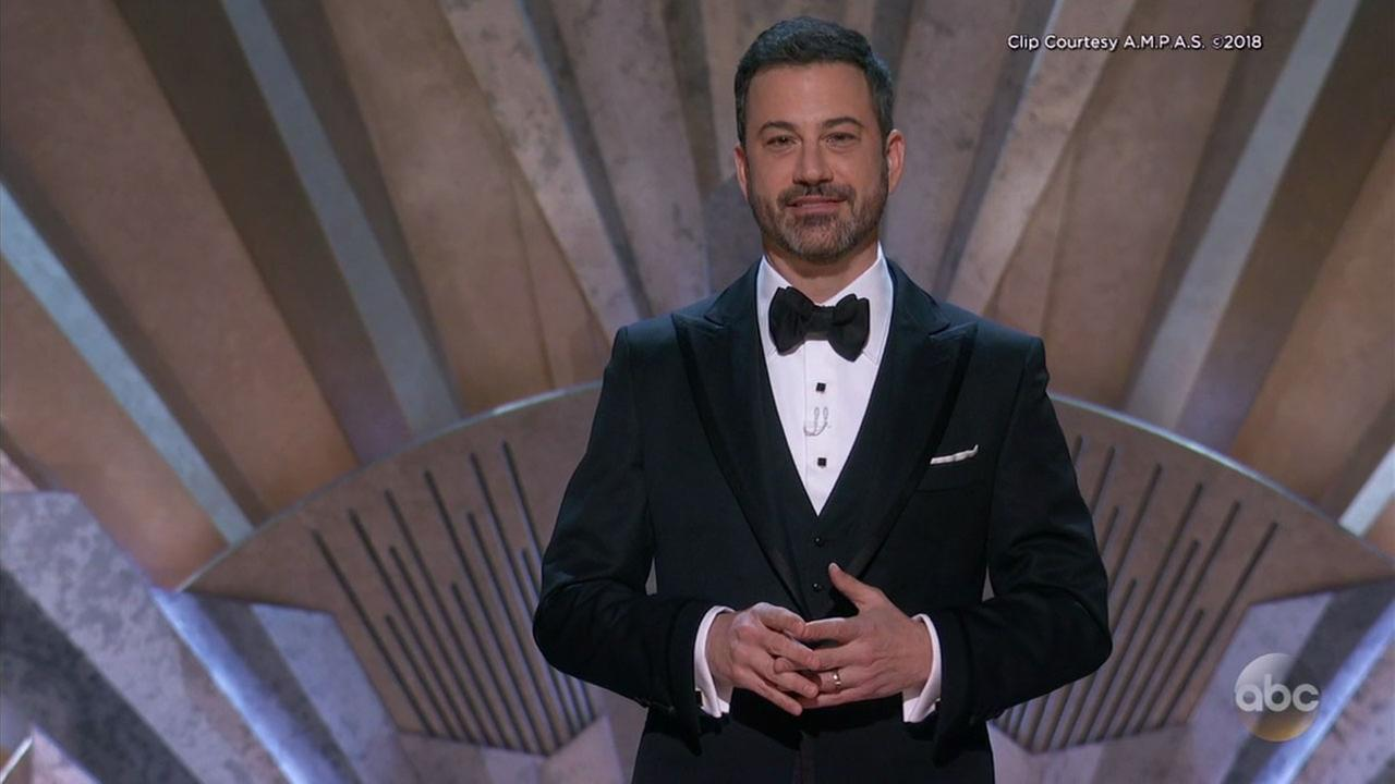 Oscars host Jimmy Kimmel delivers his monologue during the telecast of the 90th ceremony on Sunday, March 4, 2018.