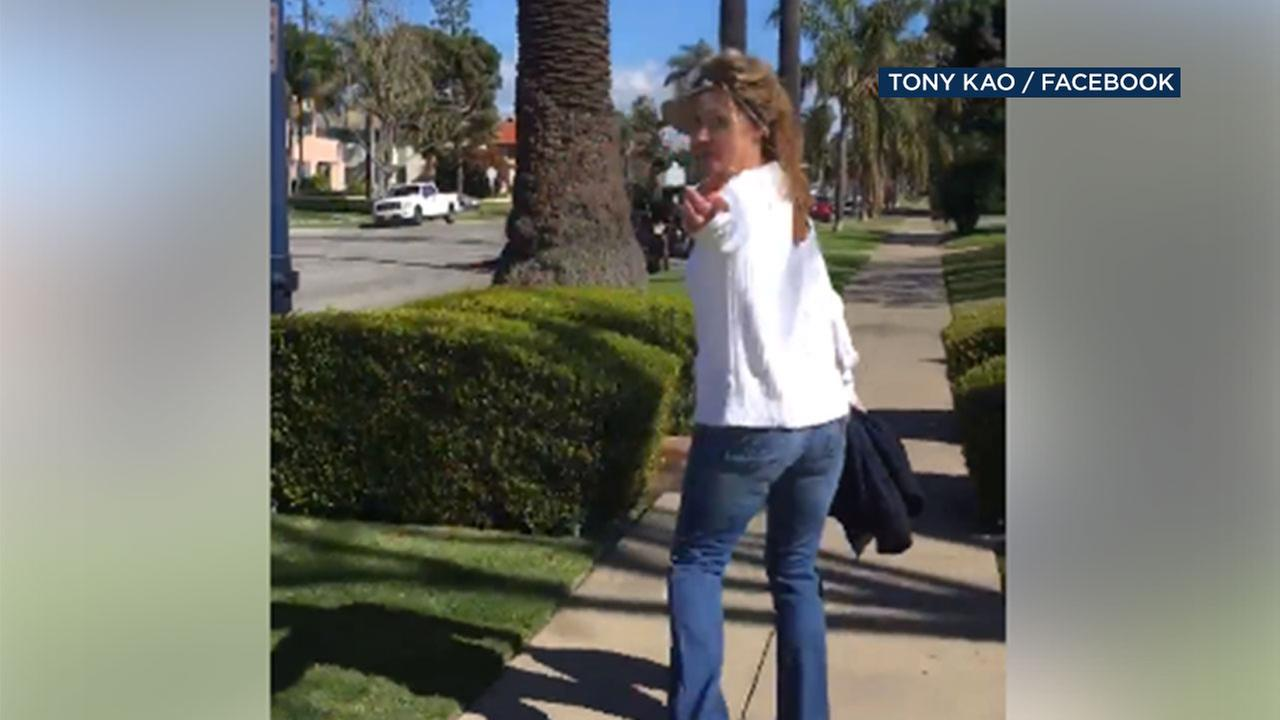 A Long Beach man and his wife recorded an encounter with a woman who told them Go back to your country.