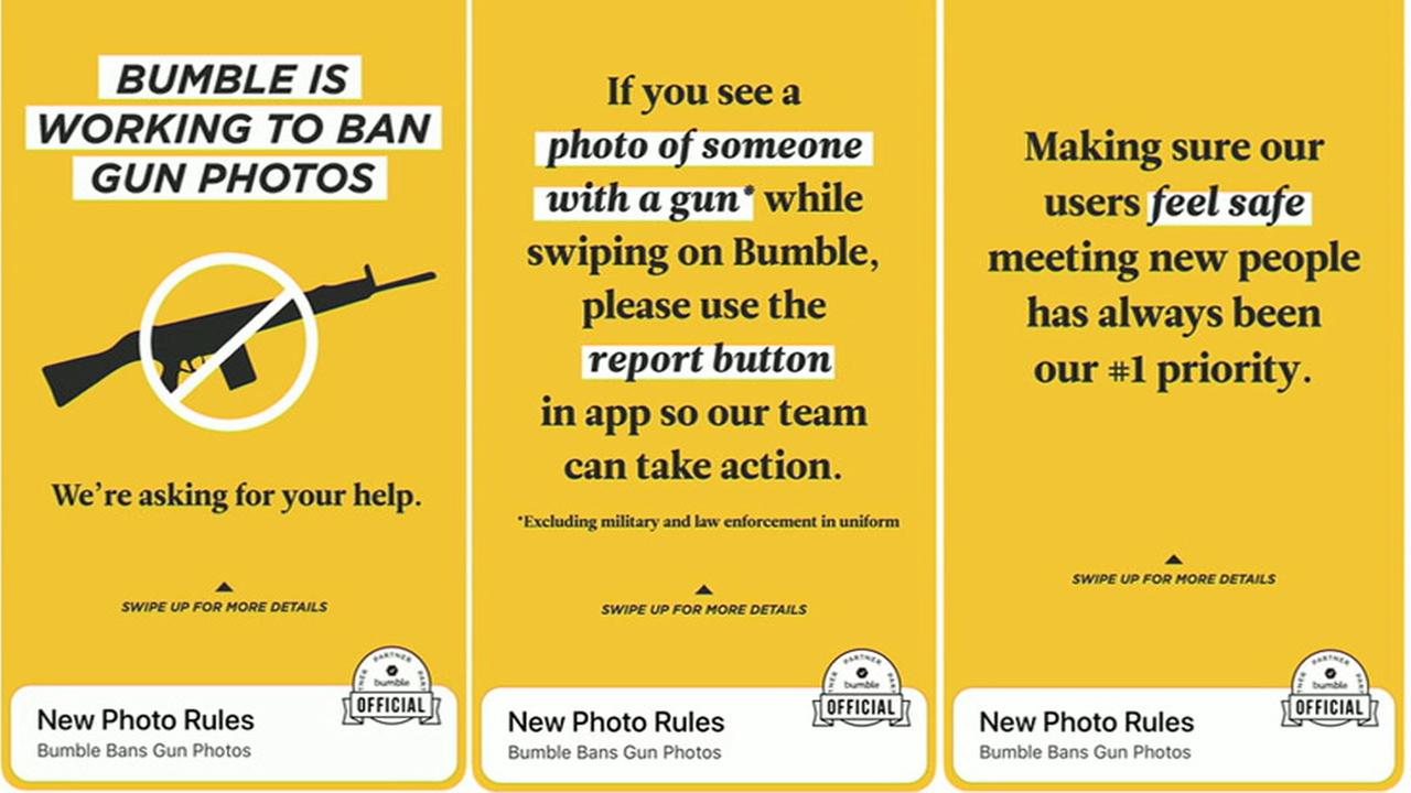 The Bumble dating app announced it is banning images of guns from user photos.