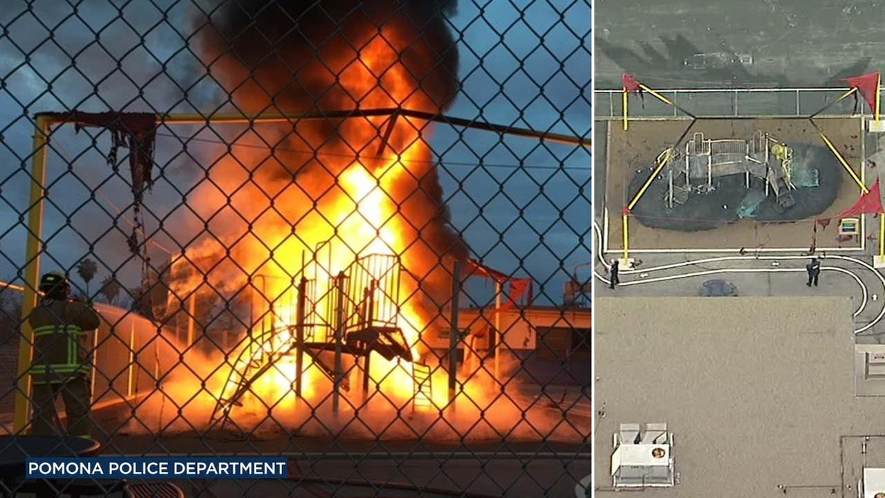 A playground apparatus was engulfed in flames outside Montvue Elementary School in Pomona on Wednesday, March 7, 2018.