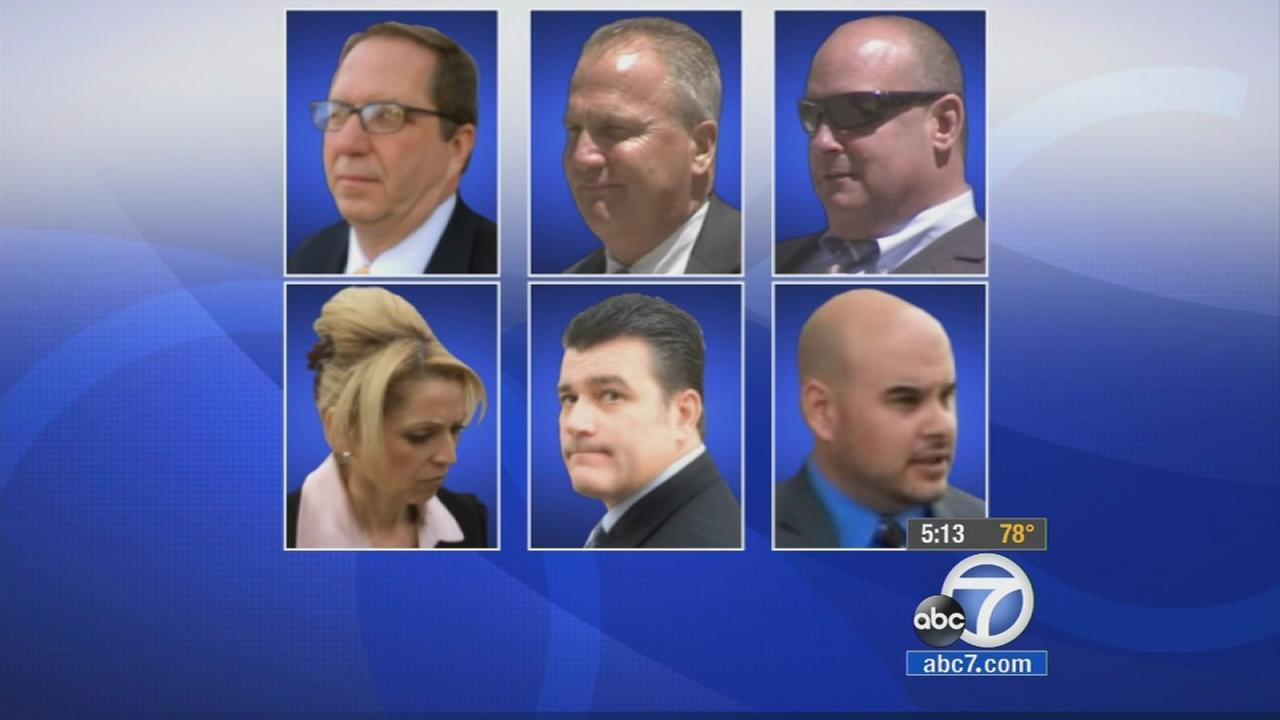 Six current and former Los Angeles County sheriffs deputies, sergeants and lieutenants were sentenced Tuesday, Sept. 23, 2014 to federal prison for trying to block an FBI probe.
