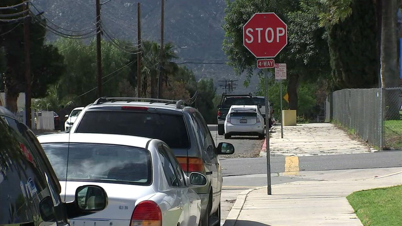 The stop sign a hit-and-run suspect is accused of driving through in Lake Elsinore is shown in a photo.