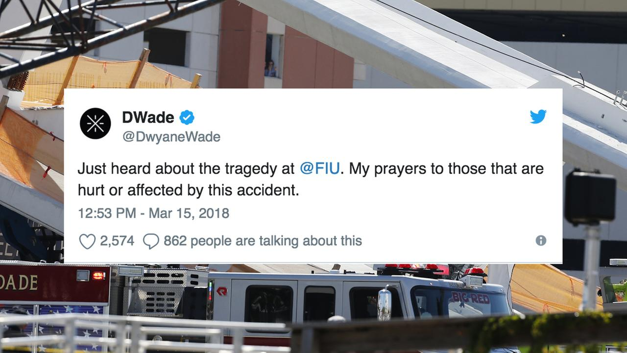 A photo of a tweet from Dwyane Wade in regards to the FIU bridge collapse.