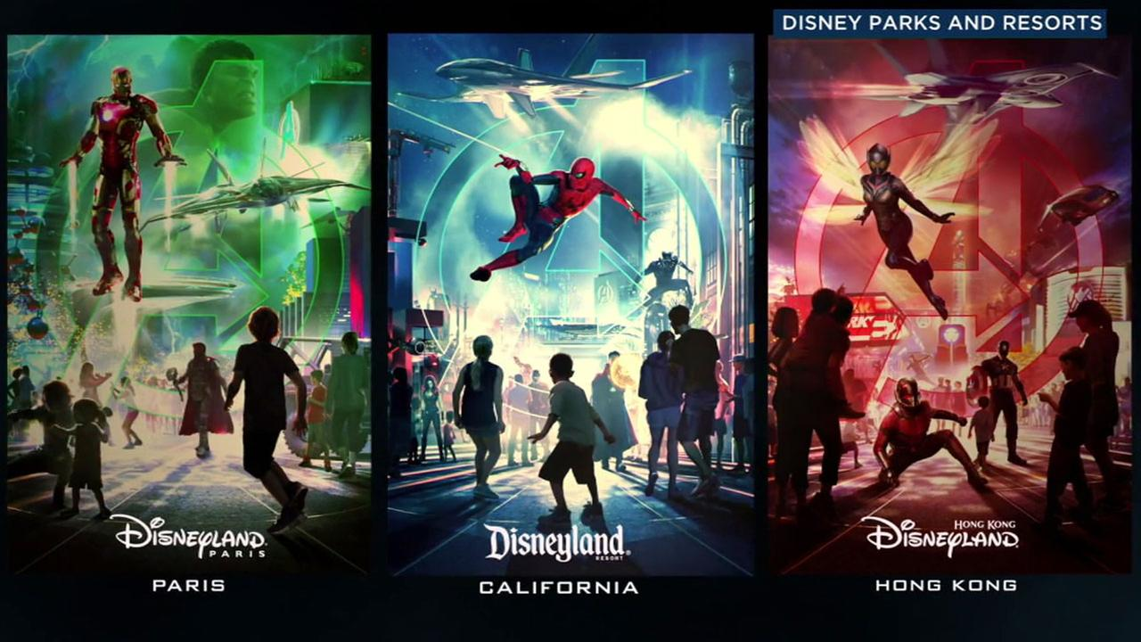 Disneyland parks in Anaheim, Paris and Hong Kong are adding new Marvel-themed superhero attractions.