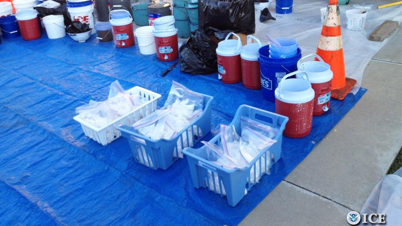 U.S. Immigration and Customs Enforcement officials seized liquid and crystal methamphetamine during a major drug bust in Riverside on Thursday, Sept. 25, 2014.