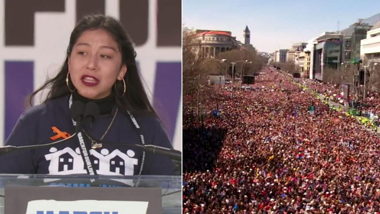 South L.A. gun control activist Edna Chavez delivers an impassioned speech at the March for Our Lives rally in Washington D.C. on Saturday, March 24, 2018.