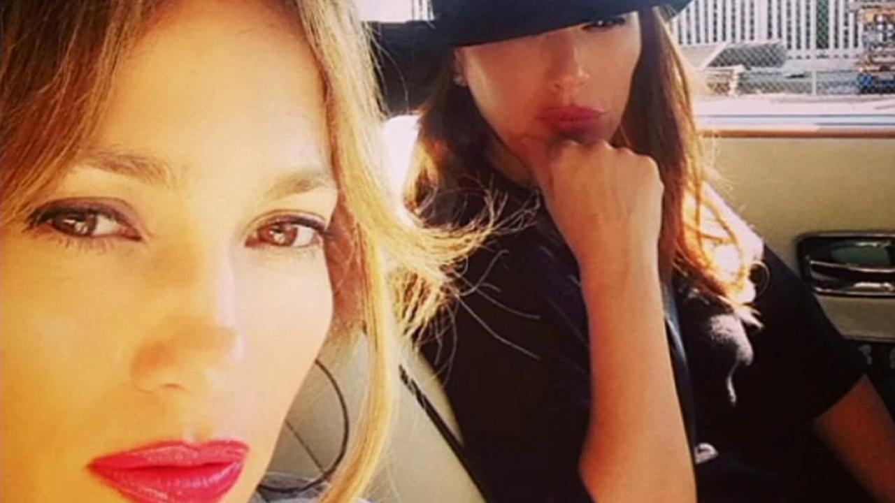 Jennifer Lopez and Leah Remini are seen after the two were rear-ended by a DUI suspect in Malibu on Saturday, Sept. 27, 2014.