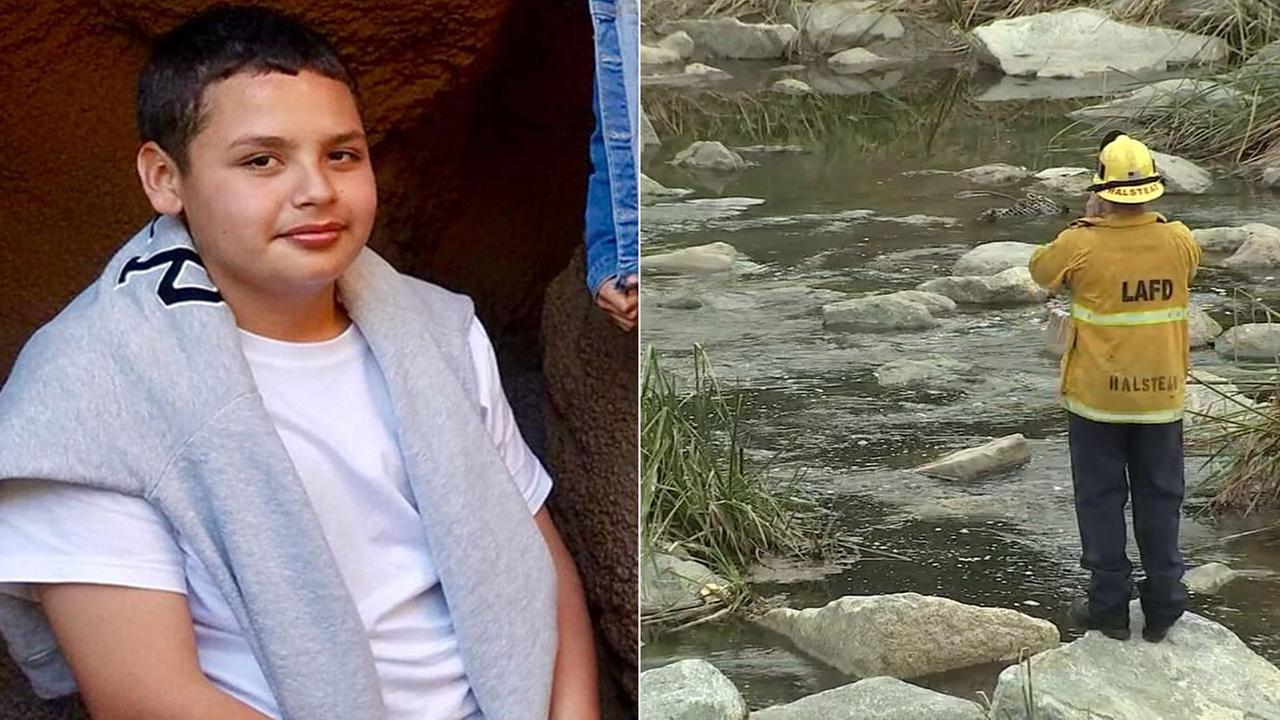 Firefighters are searching the Los Angeles River near Griffith Park for Jesse Hernandez, 13.