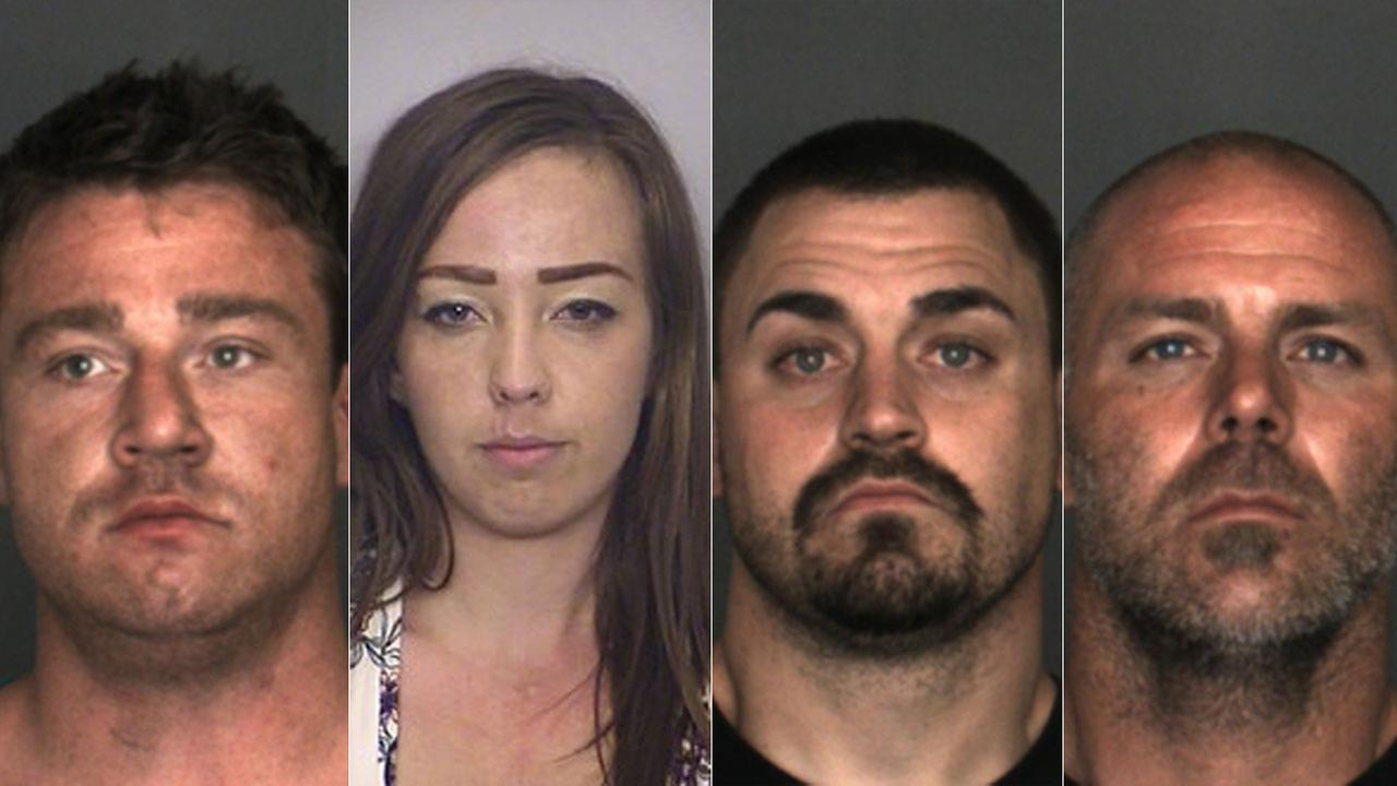 Four suspects accused of being involved in a burglary ring in Fontana that was busted by police on Tuesday, April 3, 2018.