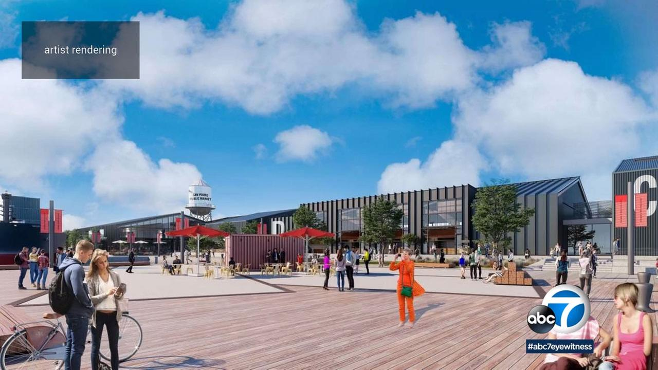 The industrial look of the new San Pedro Public Market is a nod to the surrounding operations at the Port of Los Angeles.