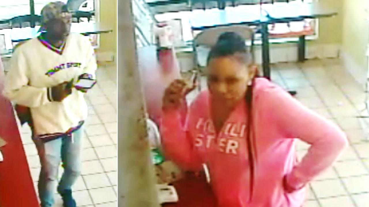 A man and woman are shown in surveillance photos. Authorities believe they are connected to a fatal shooting in Inglewood that happened on Tuesday, April 17, 2018.