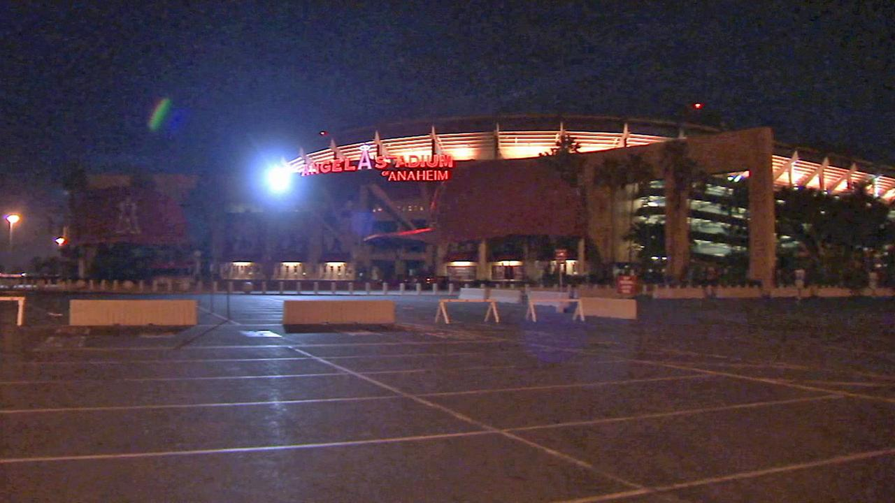 The parking lot of Angel Stadium is seen Saturday, Oct. 4, 2014.