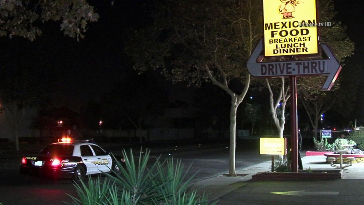 Pomona police respond to a shooting at an Albertos in Pomona on Saturday, Oct. 4, 2014.