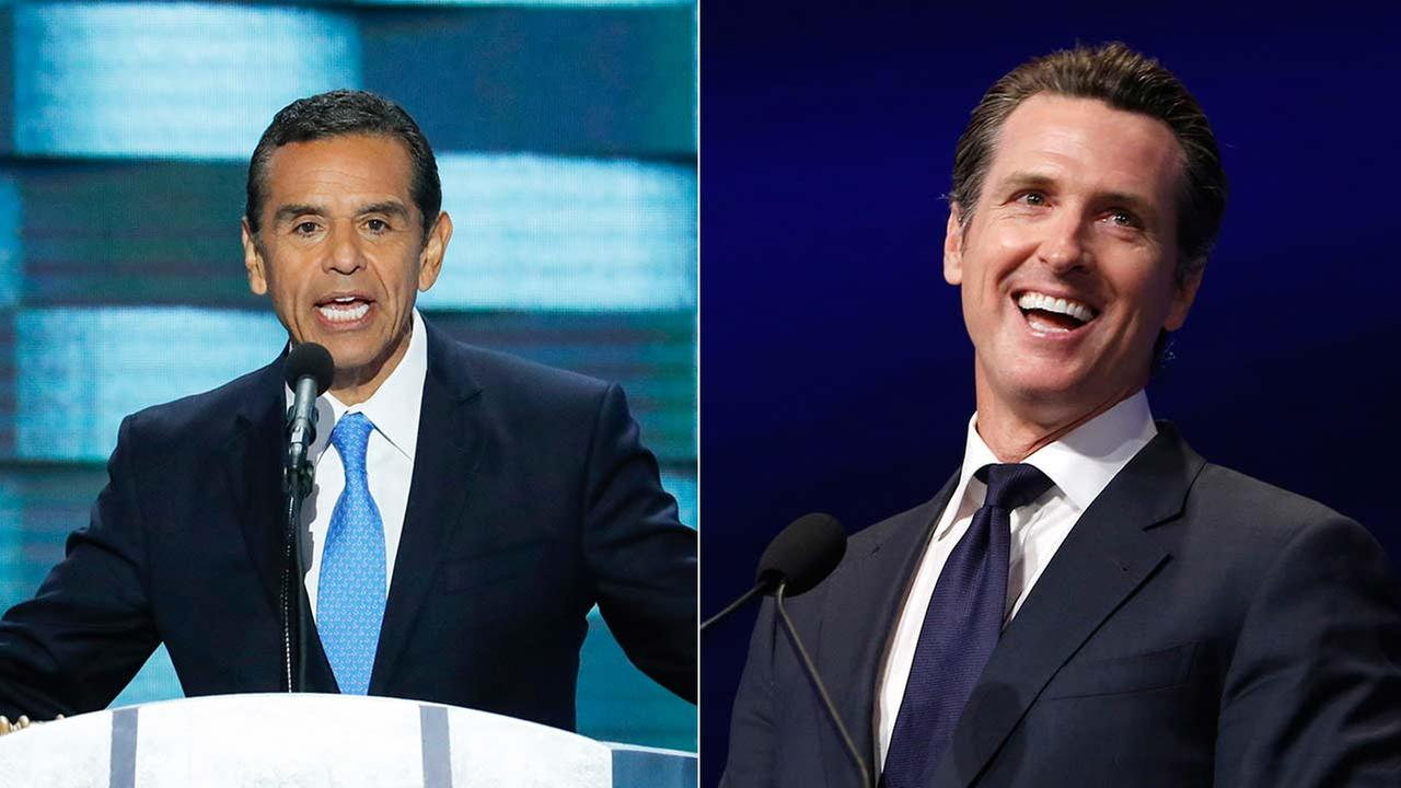 Antonio Villaraigosa and Gavin Newsom are seen in undated file photos.