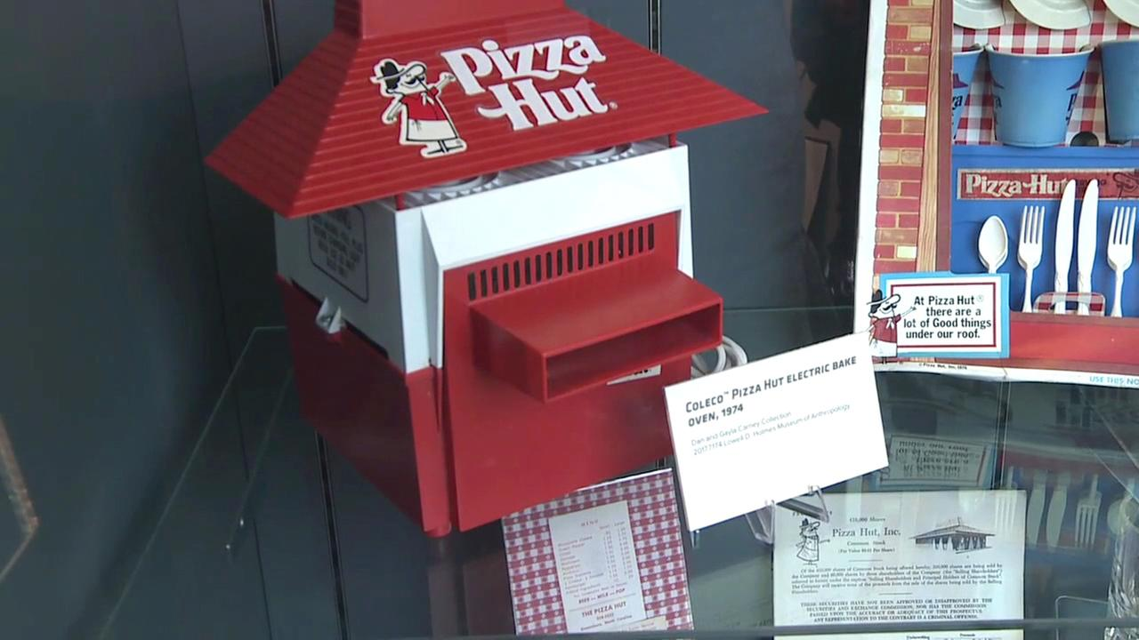 A Coleco Pizza Hut electric bake oven from 1974 is displayed at the Pizza Hut Museum in Wichita, Kansas.
