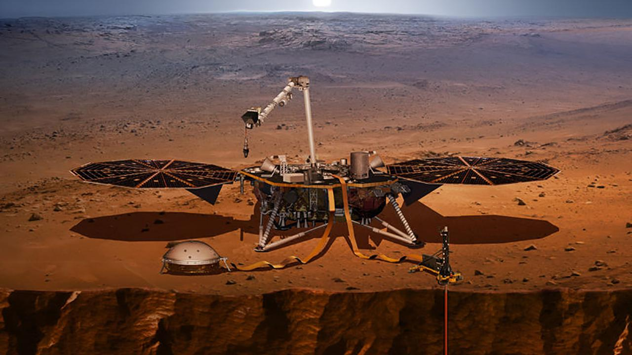 An artists rendering of the InSight lander, set to launch May 5, 2018, from Vandenberg Air Force Base.