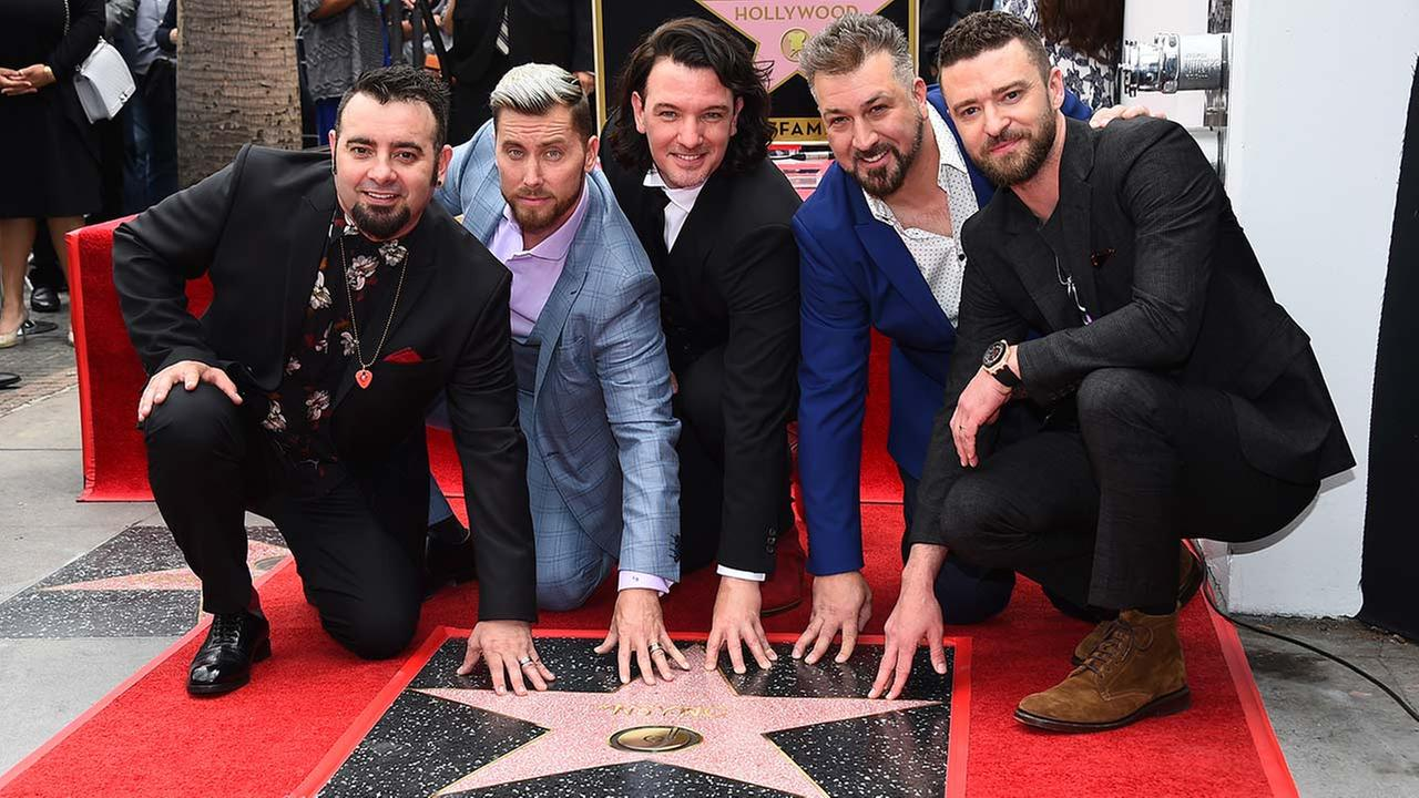 Chris Kirkpatrick, Lance Bass, JC Chasez, Joey Fatone and Justin Timberlake attend a ceremony honoring *NSYNC with a star on the Hollywood Walk of Fame Monday, April 30, 2018.