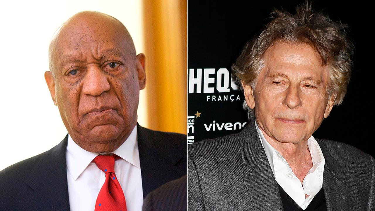 Bill Cosby reacts while being notified a verdict was in in his sexual assault retrial. Roman Polanski poses during a photo call to the screening of Based on a true story.