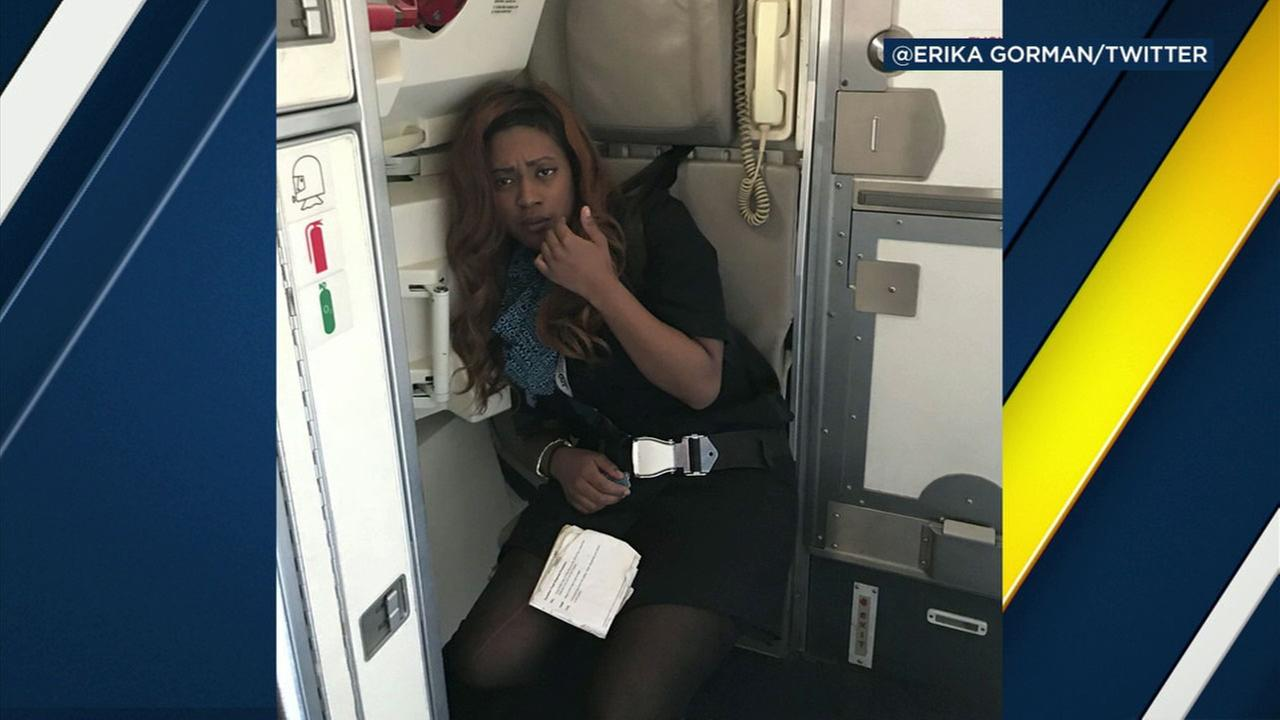 A photo of a United Airlines flight attendant who passengers said appeared to be under the influence during a flight.