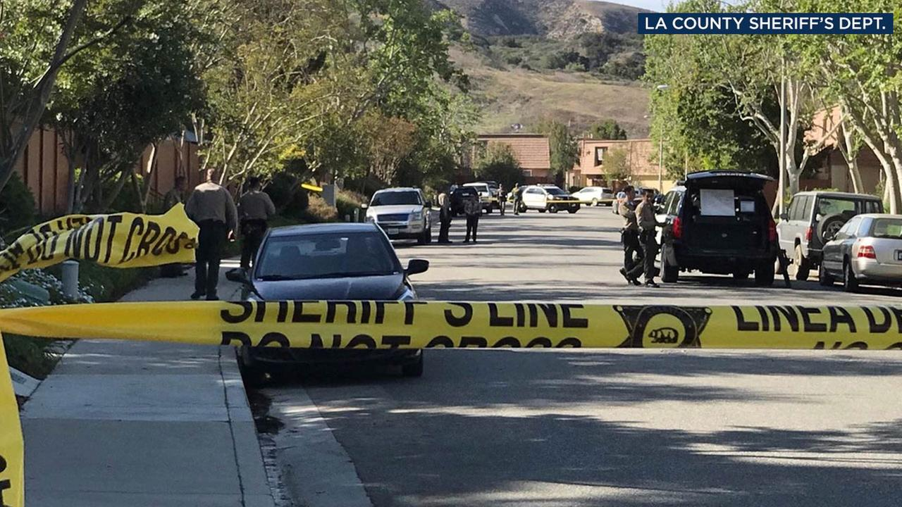 The scene of a deputy-involved shooting is shown in an Agoura Hills neighborhood.