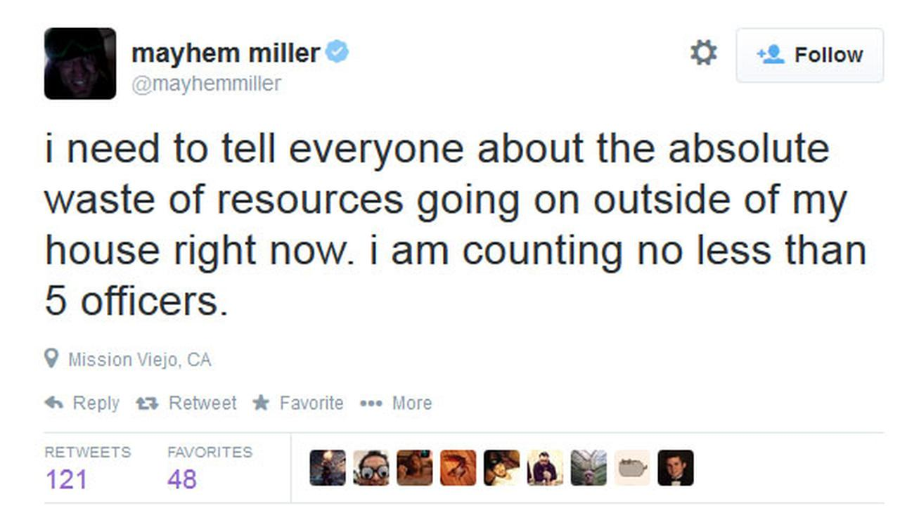 MMA fighter Jason Mayhem Miller tweeted a series of comments during a standoff at a Mission Viejo house, Thursday, Oct. 9, 2014.