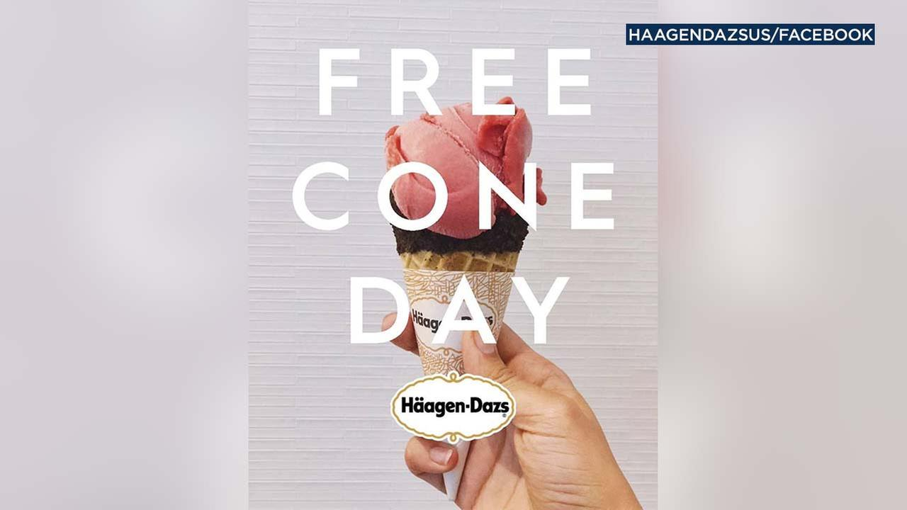 An image from Haagen-Dazs Facebook account features a promotion for the companys Free Cone Day campaign.