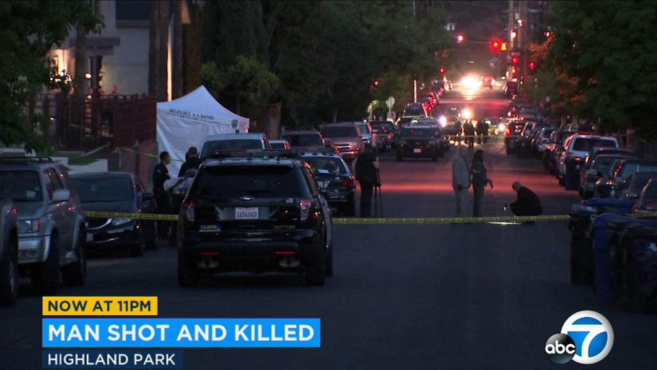 No suspect has been named in the fatal shooting of a man in Highland Park on Monday.