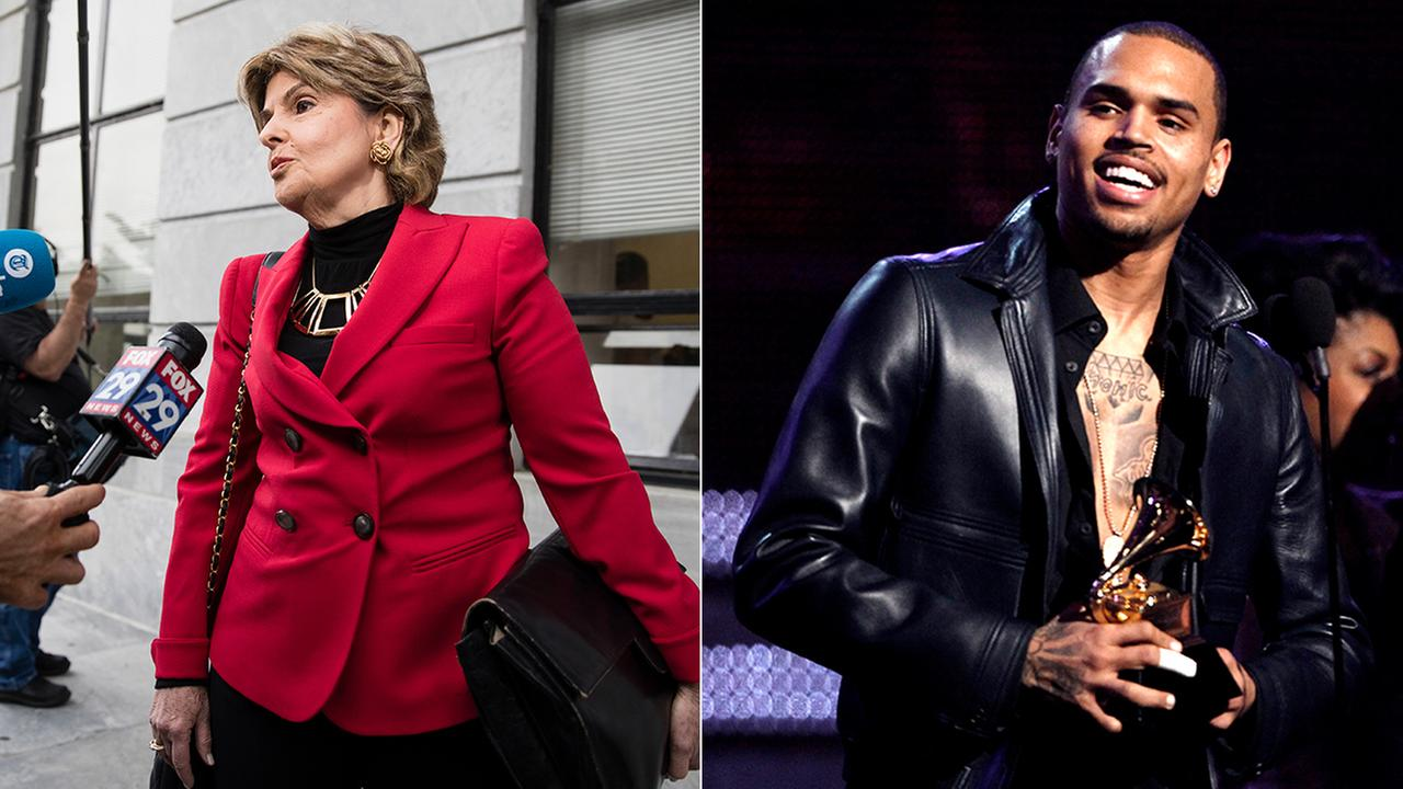 Gloria Allred, left, speaks with reporters in Norristown, Pa., Monday, June 5, 2017. Chris Brown is seen at the Grammy Awards on Sunday, Feb. 12, 2012, in Los Angeles.