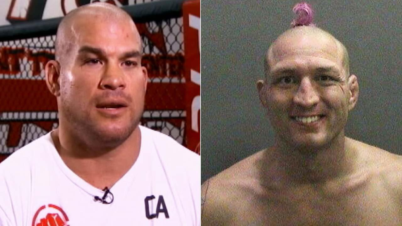 Mixed Martial Arts fighters Tito Ortiz, left, and Jason Miller, right, are shown in this file image.
