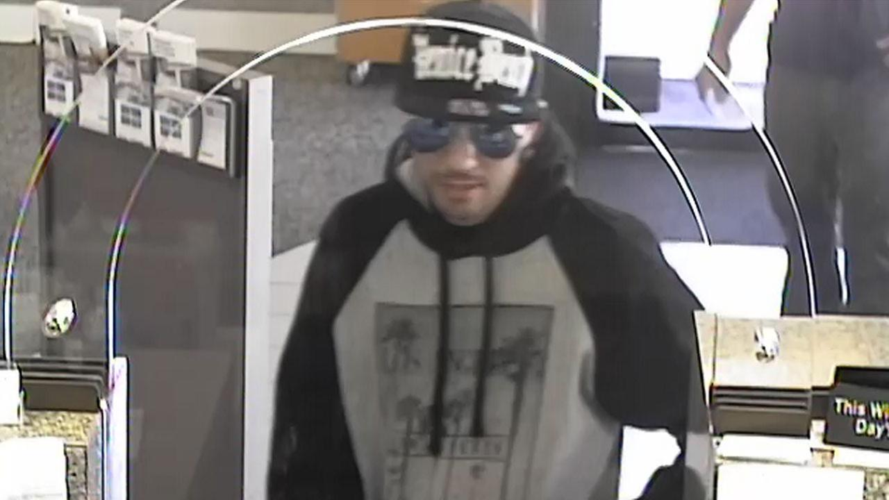A surveillance image shows who authorities identified as James Hamill, who is suspected of several bank robberies around Southern California.