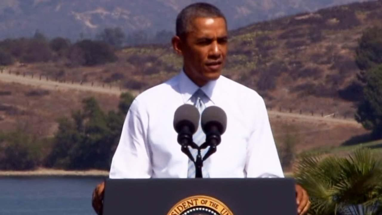 President Barack Obama speaks at Frank G. Bonelli Regional Park in San Dimas about designating a part of the San Gabriel Mountains a national monument on Friday, Oct. 10, 2014.
